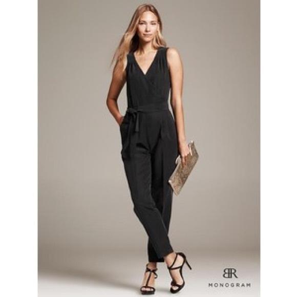 086755cf4b9e Banana Republic Monogram black jumpsuit